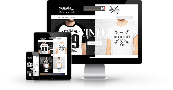 ecommerce web design established clothing