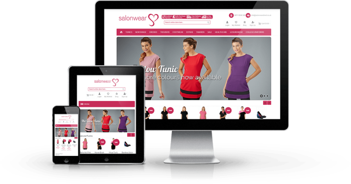 ecommerce web design salonwear direct